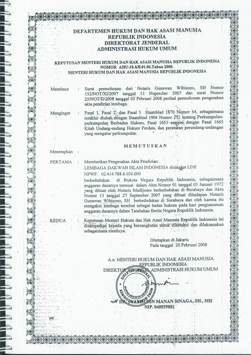 Akta Badan Hukum LDII